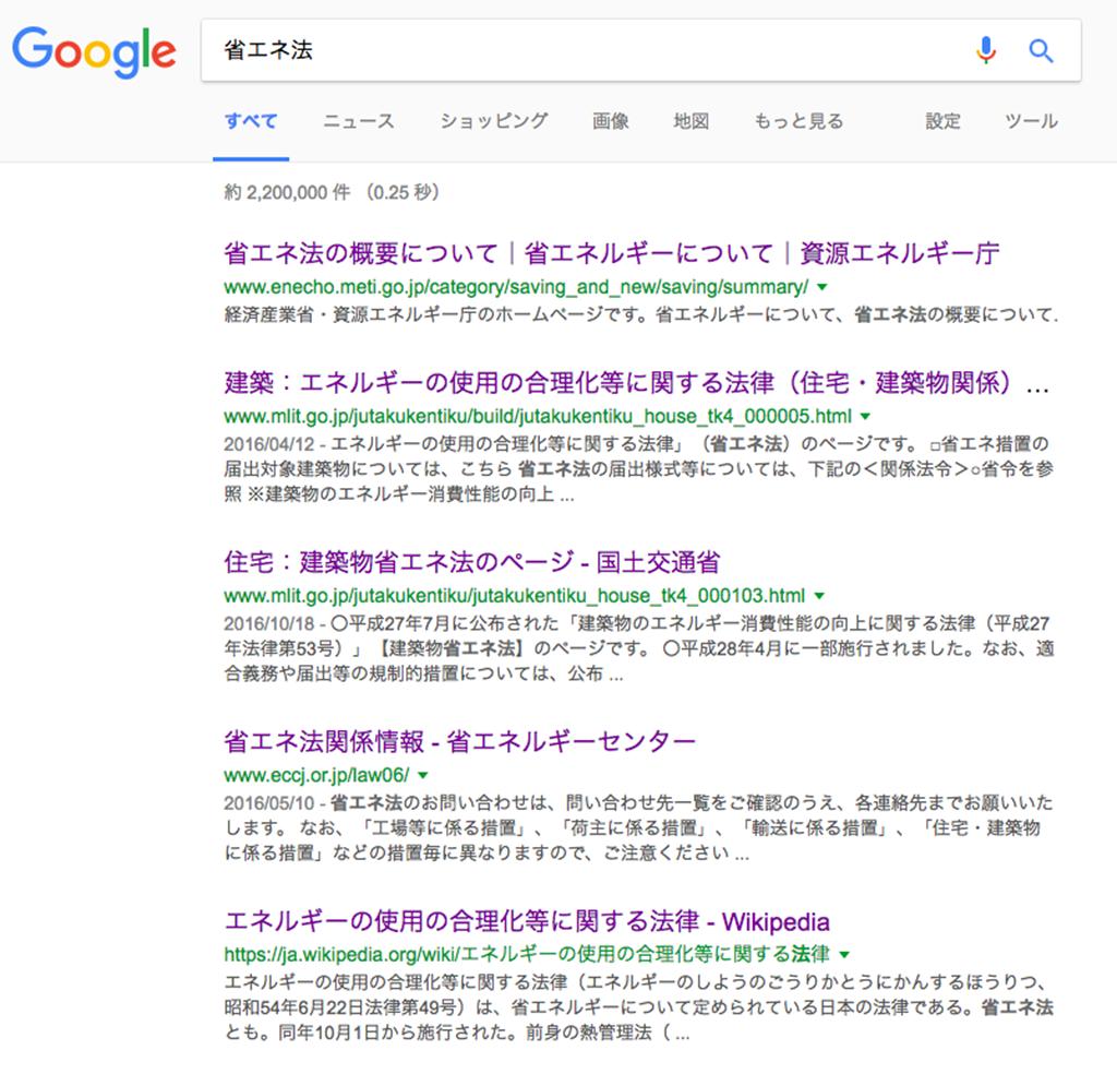 google検索:「省エネ法」