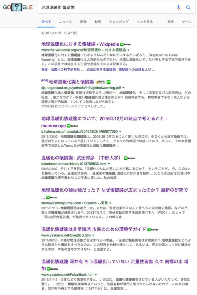 「地球温暖化 懐疑論」でgoogle検索された結果