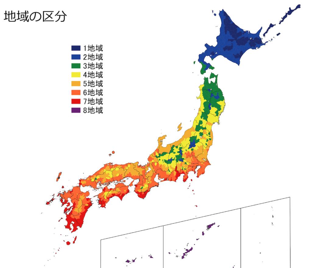 新しい地域区分の地図(2019年11月から)